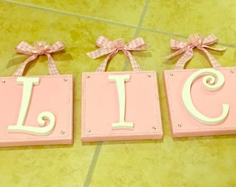 Wall canvas with wooden letters for nursery or child's room