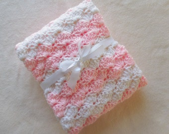 Crochet Baby Blanket - Girl - Crib Size - Light Pink and White - Baby Shower Gift - Nursery Blanket- Knit - Baby Afghan