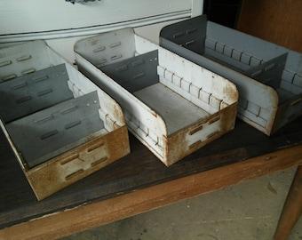 Industrial Steam Punk Natural Aged Patina Metal Storage Bins With Metal Dividers
