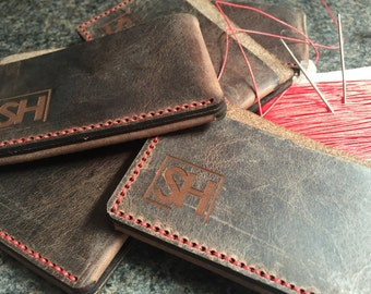 Leather card wallet hand stitched