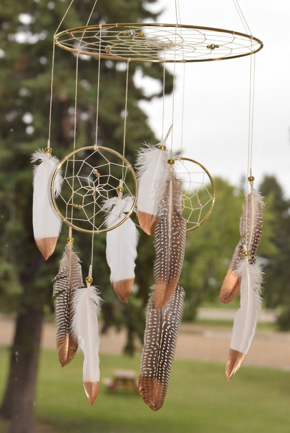 SALE 20% OFF Triple Dream catcher Mobile, Woodland Nursery Decor Large Boho Dreamcatcher Mobile, Baby Boy Nursery, Baby Girl Nursery