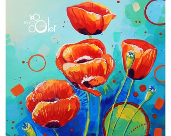 "Poppies - Original colorful traditional acrylic painting on paper 8.5""x11"""