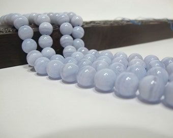 Blue lace agate round beads 10mm. Natural gemstone smooth round beads. High Quality