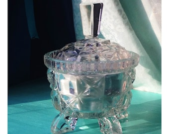 Vintage Glass Trinket Soy Candle: Sweet Pea Scent with Lavender Sprinkles