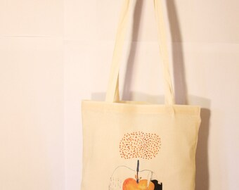 Canvas Tote Bag - Reusable and Washable - Sustainable - Organic - Screen Printed Cotton Grocery Bag - Shopper Tote - Romanian Folklore Apple