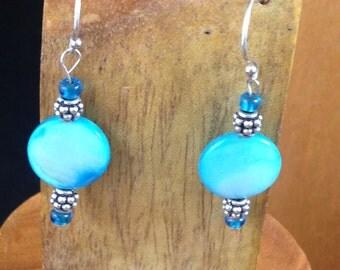 Handmade Beaded Earrings - Bright Blue