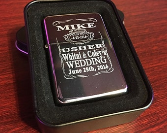 Personalized gift - Engraved lighter - Groomsmen gifts - Bridesmaid gifts - Wedding gifts - Best man gift - Maid of honor gift