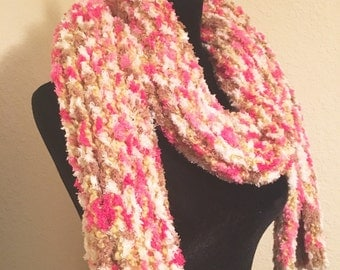 Multicolored knit scarf, hand knit scarf, free Shipping