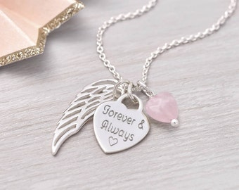 Personalised Silver Heart And Angel Wing Necklace