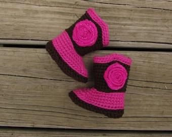 Baby Cowgirl Crochet Boots newborn-6 months w/ Flower