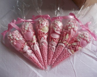 pink party sweet cone favours SET OF 20 christening Favoures wedding favors sweet cones gerls party favours baby shower favours