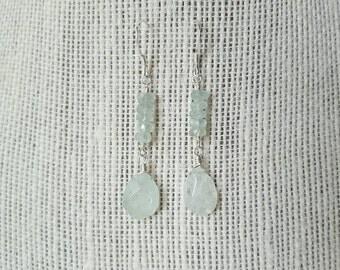 Moss Aquamarine Dangle Earrings, Gemstone Earrings