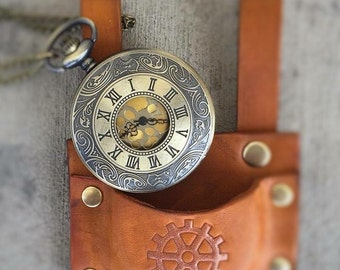 Leather pocket watch holders