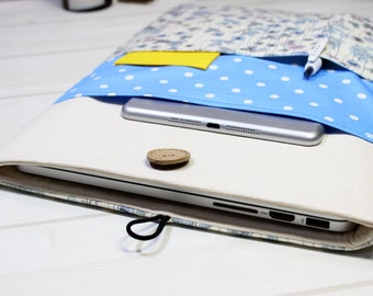 15 Inch Macbook Case, Macbook Pro Sleeve, Pro Retina Cover, Macbook Sleeve 15, Fabric Case, Laptop Case, Laptop Sleeve, Polka dot, Floral