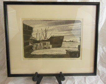 "Harlan Scheffler Etching ""World Port O'Call"""