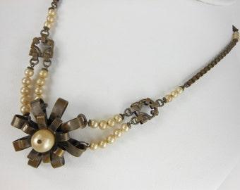 Vintage Necklace Faux Pearls Metal