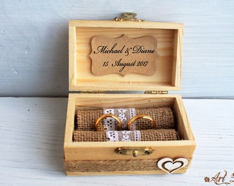 Rustic Wedding Box Personalized Ring Bearer Box Rustic Ring Box Ring Holder Еngagement Ring Box with Pillow Custom Wedding Box natural wood