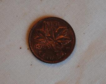 1969 Canada cent.  Queen Elizabeth II.  Hobby collector or memorabilia.