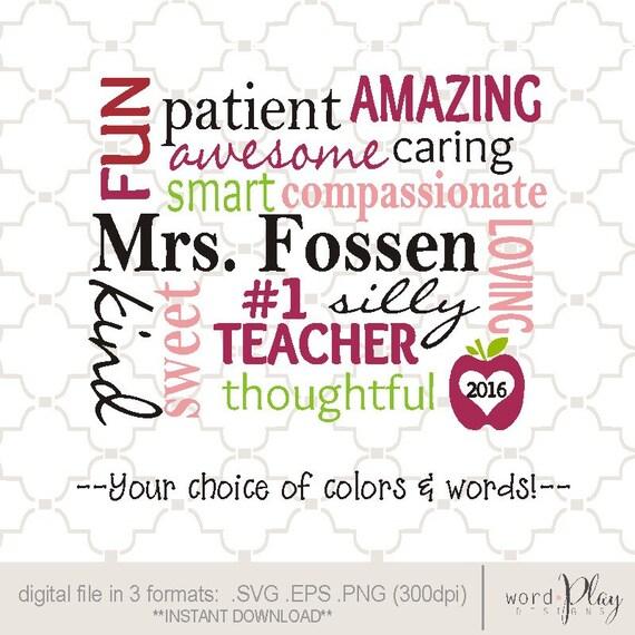 personalized teacher word collage printable art    digital