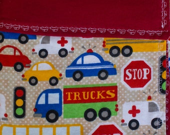Lined Flannel Red Cars Trucks Buses Baby Receiving Blanket
