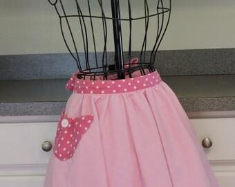 Pink and Polka Dot Reversible Half Apron with Pockets