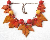 Golden Autumn leaf polymer clay jewelry multicolor necklace Yellow leaf jewelry Colorful  statment necklace jewelry autumn jewelry