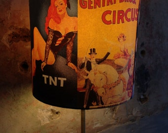 Vintage Circus Sideshow poster art inspired Lampshade