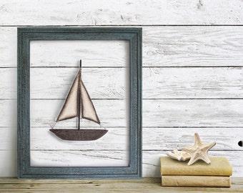 Framed Sail Boat Wall Art, Nautical Decor, Blue, Nursery Wall Art, Home Decor, Shabby Chic, Distressed wood frame