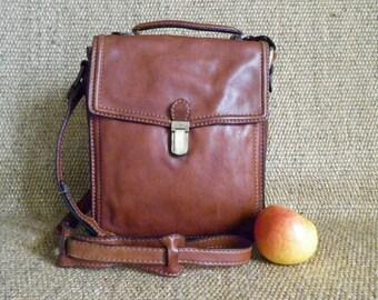 Vintage Copper Brown Leather Shoulder Strap Bag Satchel