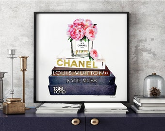 Square print - fashion books Watercolor Peony pink peonies watercolour Fashion books bathroom bedroom decor fashion illustration ombre gift