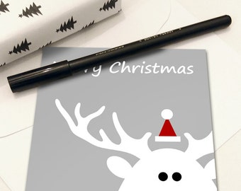 5x7 Printable Christmas Card, Instant Download Merry Christmas Card, Red And White Digital Christmas Cards, Reindeer Card