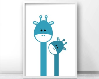 Giraffe Nursery Art, Nursery Print, Kids Prints, Blue Nursery Wall Art Print, Printable Kids Room Decor, Baby Boy Art, Modern Nursery Decor