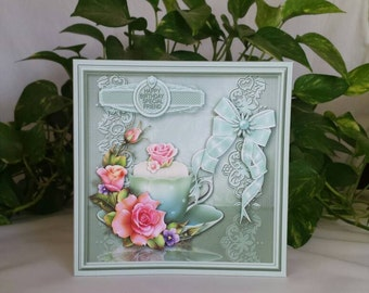 Handmade Birthday Card, Floral Birthday Card, 3D Floral Cards, Floral Card for Special Friend