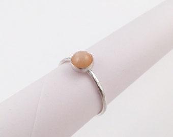 Peach Moonstone Ring, Size 7.5