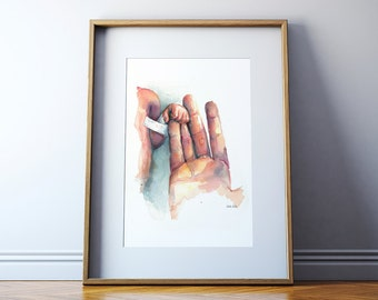 Preemie Holding Hands Watercolor Print - Preemie and Mother Hand - NICU Art - Neonatology Art - NICU Mom Gift