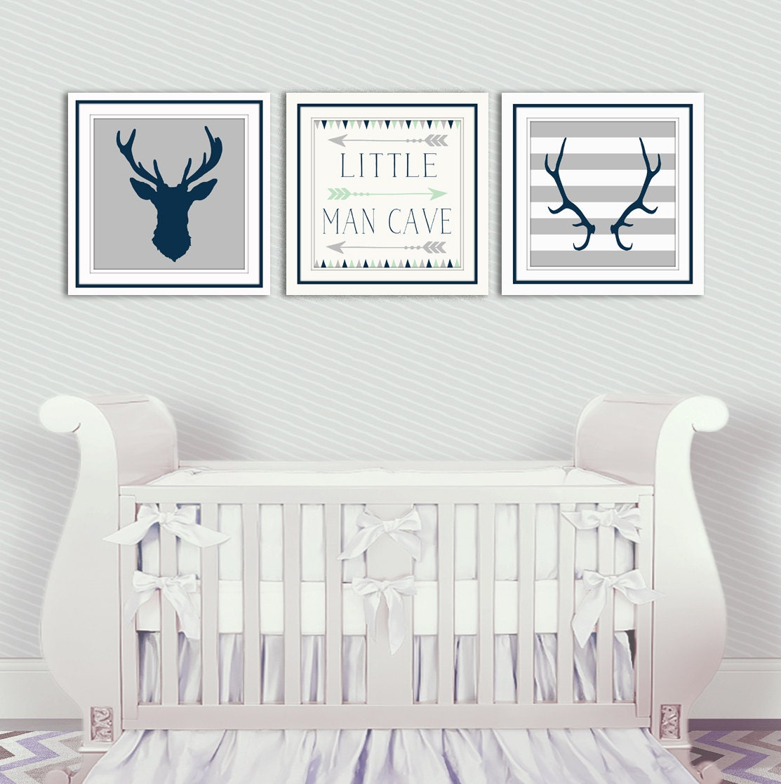 Man Cave Baby Room : Baby boy nursery decor antlers deer head arrows little