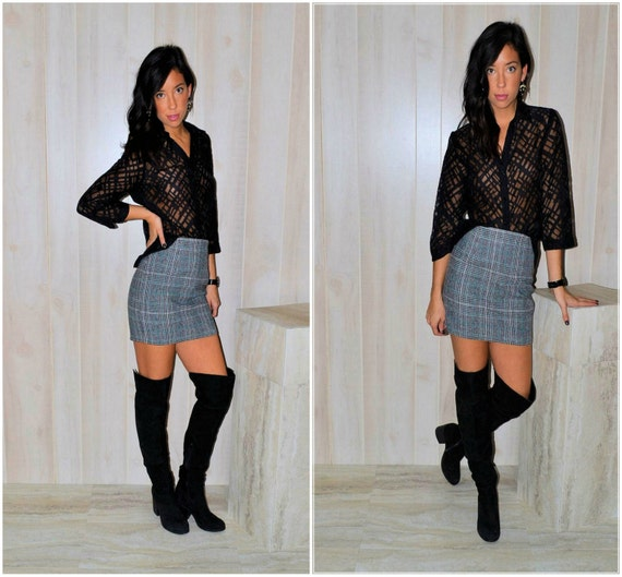 Black And White Plaid Mini Skirt 89