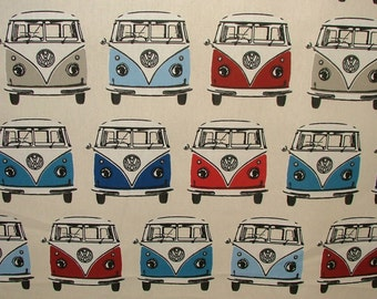 Officially Licensed Road Trip Nautical VW Volkswagen Camper Van Curtain Fabric