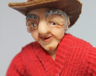 Miniature 1/12th scale OOAK Hand Sculpted Doll Hillbilly