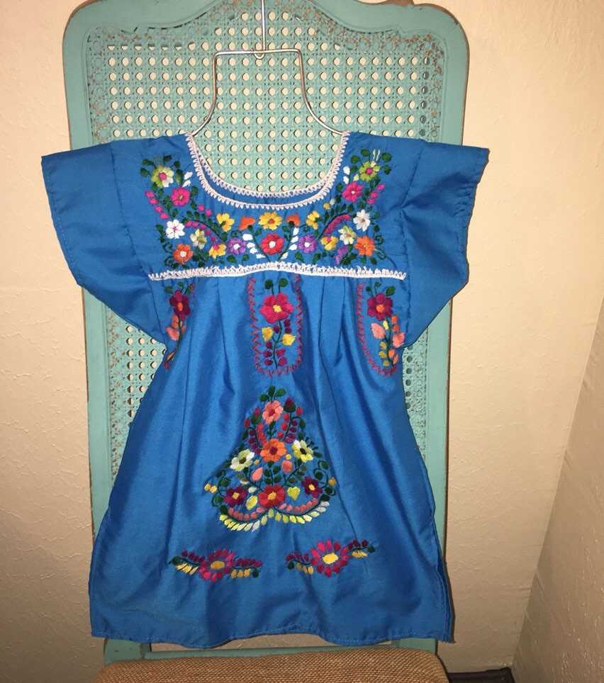 Blue t mexican tunic embroidered dress