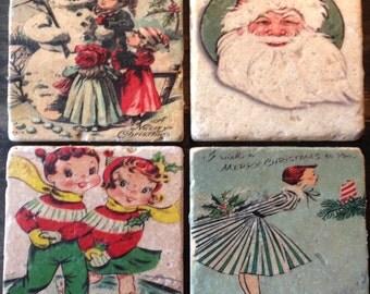 Vintage Christmas Card Tiles x4