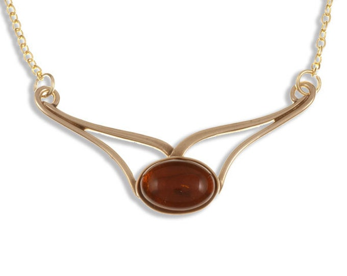 Openwork Necklace with large oval amber cabochon on gold-plated trace chain-Ideal Gift For Mom- Her-Birthday-Christmas