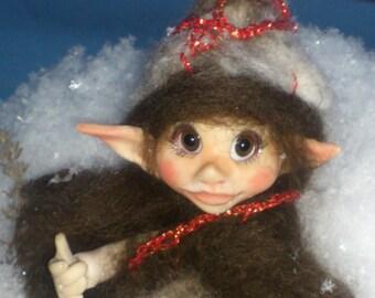 On Sale OOAK Miniature Fairy Elf, Gnom, Pocket Fairy