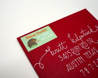 Custom Hedgehog Return Address Labels, 40 Labels - Free Shipping