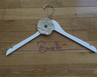 Bride Hanger with Burlap Flower