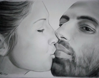 personalized custom wedding gifts  for couples custom couple portrait drawing