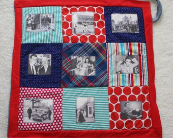 Memory Support Blanket ~ Life's Journey ~ Photos and Memories of 50s and 60s Ireland ~ Dementia lap Quilt ~ Red