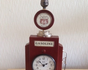 Up-cycled Clock Gas Pump Lamp