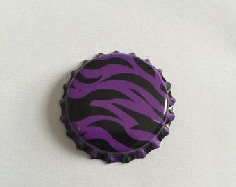 Purple Zebra Bottle Cap Brooch Pin