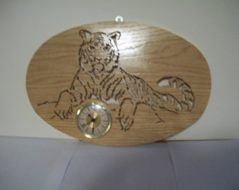 Tiger Wall Plaque with Clock